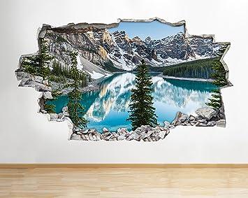 Tekkdesigns A144 Berge Snow Forest Lake Wand Aufkleber 3D Poster Art  Aufkleber Vinyl Raum Kids Schlafzimmer