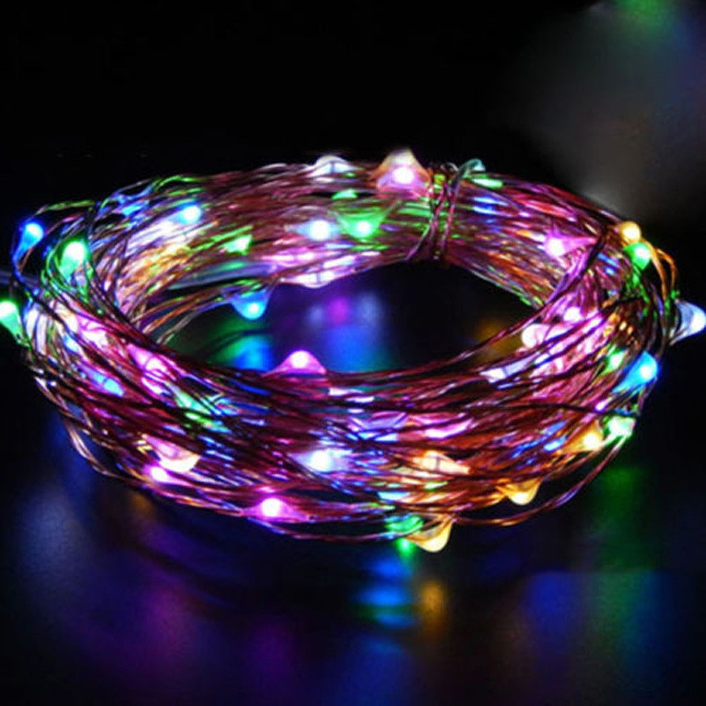 Glumes LED String Fairy Lights  10 LED 3.2ft/1 m  Hanging Indoor Outdoor Decoration for Christmas Party Wedding Holiday Birthday Garden Patio Bedroom Battery Operated Lights (multicolor)