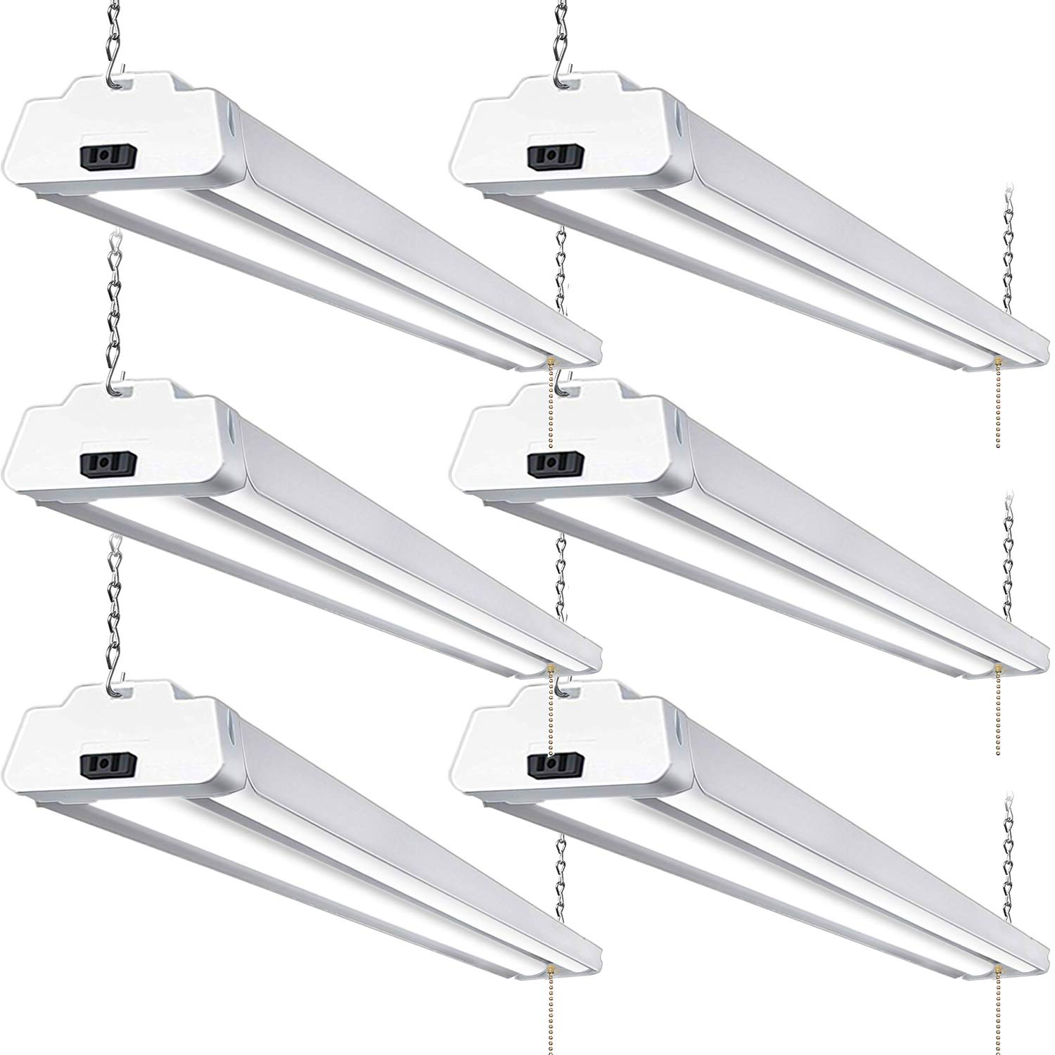 Hykolity 5000K LED Shop Light Linkable, 4FT Daylight 42W LED Ceiling Lights for Garages, Workshops, Basements, Hanging or FlushMount, with Plug and Pull Chain, 4200lm, ETL- 6 Pack