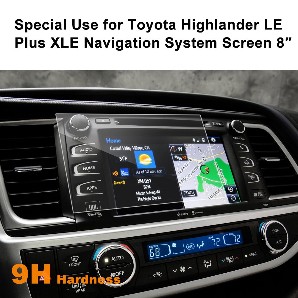 Toyota Highlander LE Plus XLE 2015-2017 8-inch Car Navigation Screen Protector, LFOTPP [9H Hardness] Tempered Glass in-Dash Screen Protector Center Touch Screen Protector Anti Scratch High Clarity LiFan CA Toyota Highlander LE Plus XLE 175105