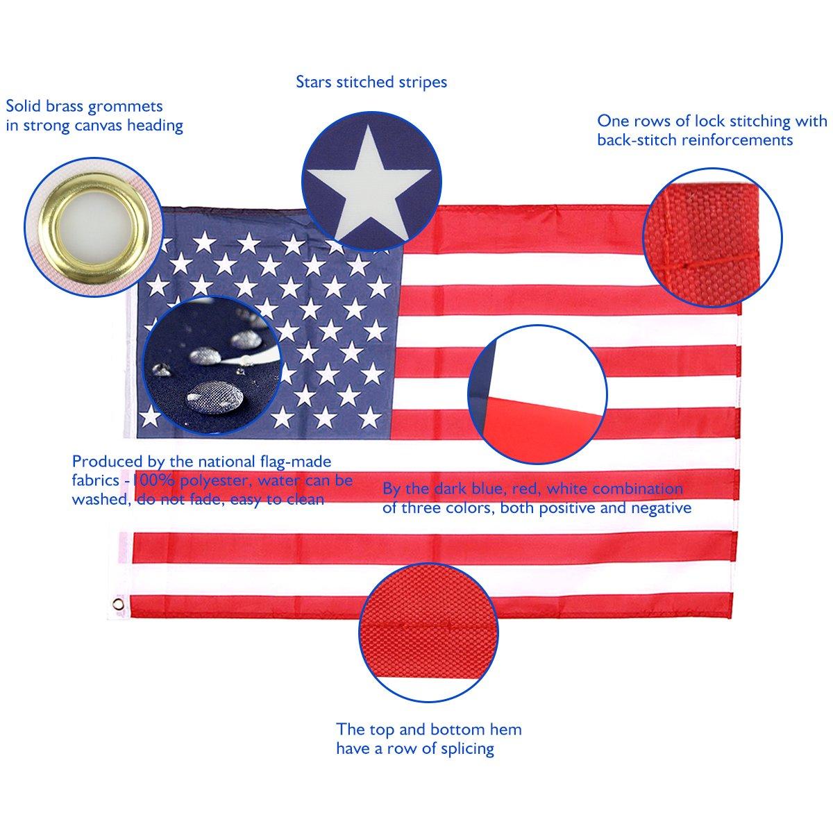 Bandera de Estados Unidos 150×90cm para La Decoración del Lugar Parezca Más Juvenil de Bandera Eeuu