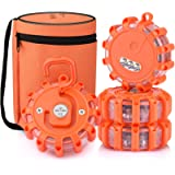 AK [4 Pack] LED Road Flares Safety Flashing Warning Light Roadside Emergency Disc Beacon Kit for Vehicles Boats with…