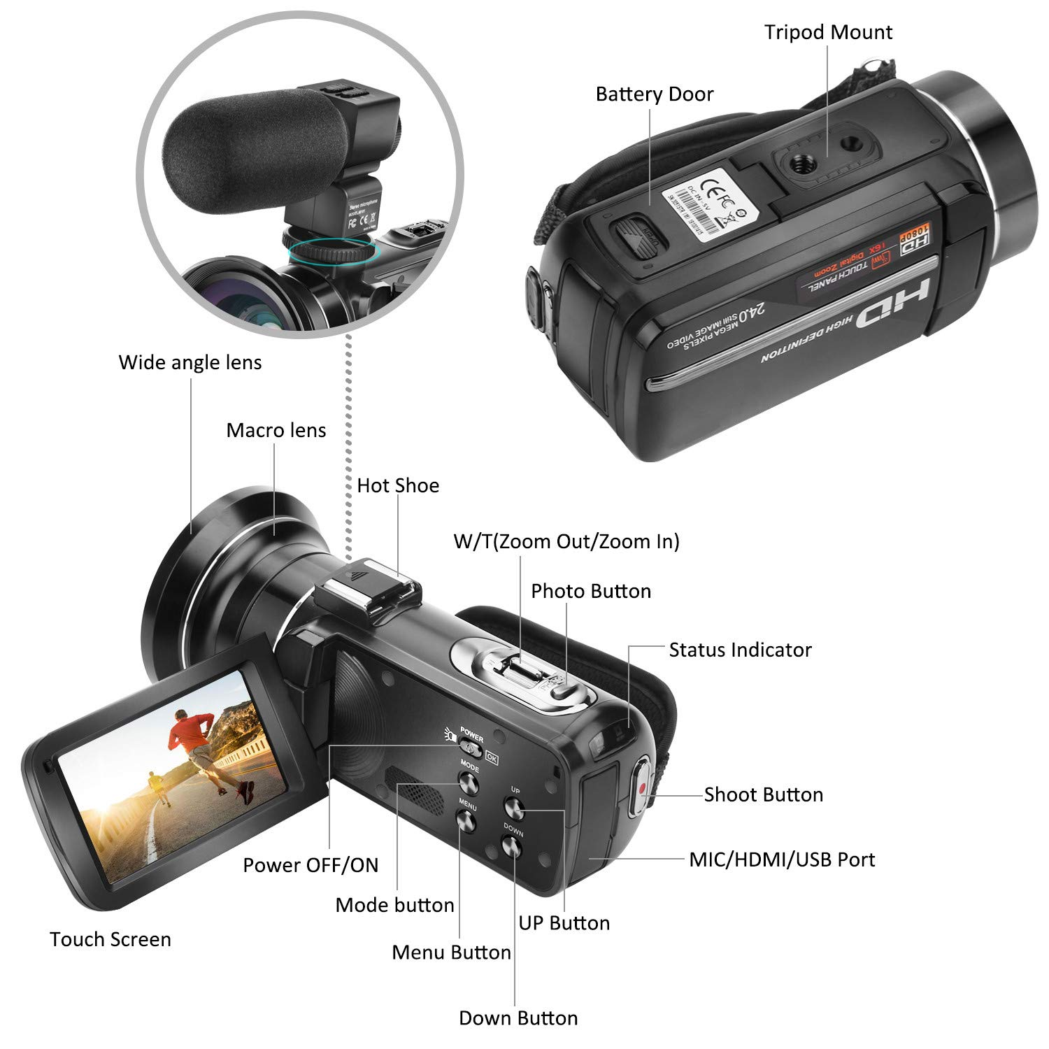 Camcorder Full HD 30FPS Video Camera Kenuo 1080P 24.0MP Digital Camera 3.0 Inch LCD 270 Degrees Rotatable Touch Screen IR Night Vision 16X Digital Zoom YouTube Vlogging Camera Face Detection With External Microphone Wide Angle Lens And 32GB SD Card