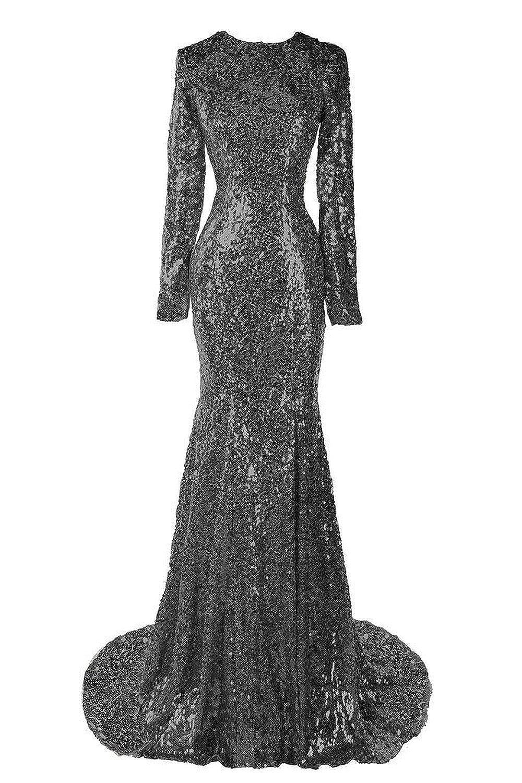 Amazon.com: Sweet Bridal Women\'s Long Sleeve Sequins Long Evening ...