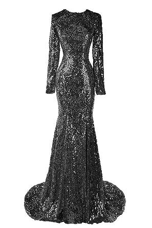de481caf1915a1 Sweet Bridal Women's Long Sleeve Sequins Long Evening Dress Party Dress  Black US2