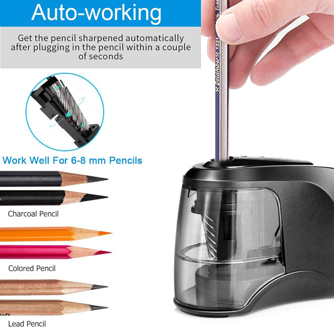 Pencils sharpener Heavy-duty with Two Battery Support,USB or Battery Helical Blade Pencil Sharpener for Artist,Student at Classroom//Office//Home//for Colored Pencils Electric Pencil Sharpener 6-8mm