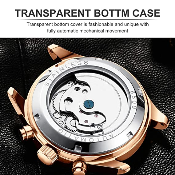 Amazon.com: Luxury Men Watches Automatic Mechanical Watch Tourbillon Moon Phase Brown Leather Casual Business Wristwatch Relojes Hombre: Watches
