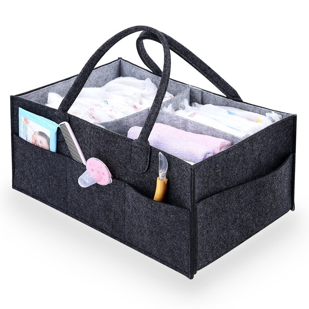 Baby Diaper Caddy Nappy Bag, Large Portable Car Travel Organiser Nursery Tote Bag Boy Girl Diaper Storage Felt Bin for Changing Table,Newborn Registry Must Haves Gift ZZ