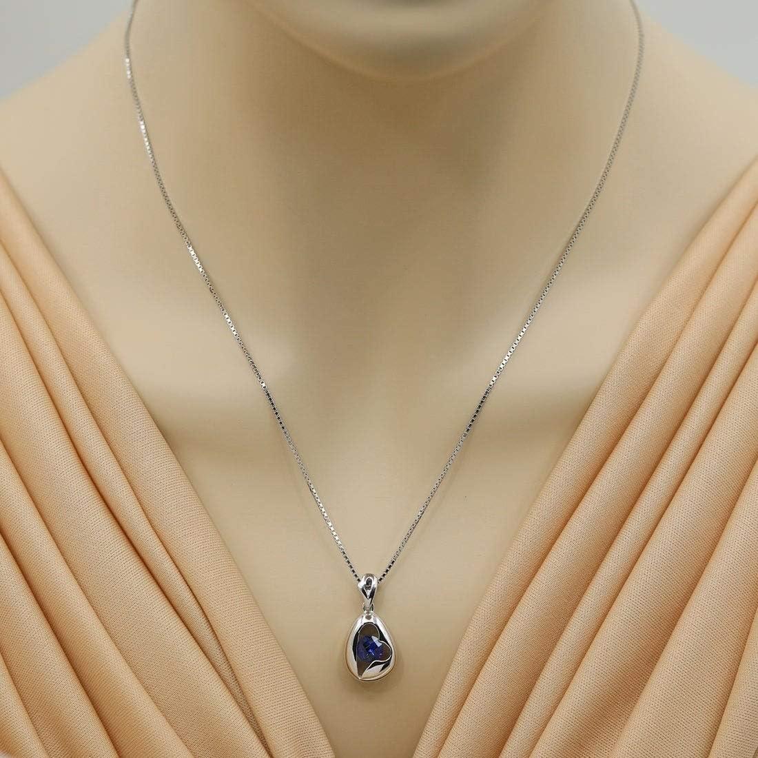 1.15Ctw Round Cut Blue Sapphire Sim Diamond Manimalist Women Pendant Necklace14K White Gold Finish