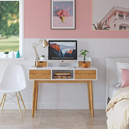 HOMECHO Writing Computer Desk Modern Workstation Table Wood Compact Study Desk