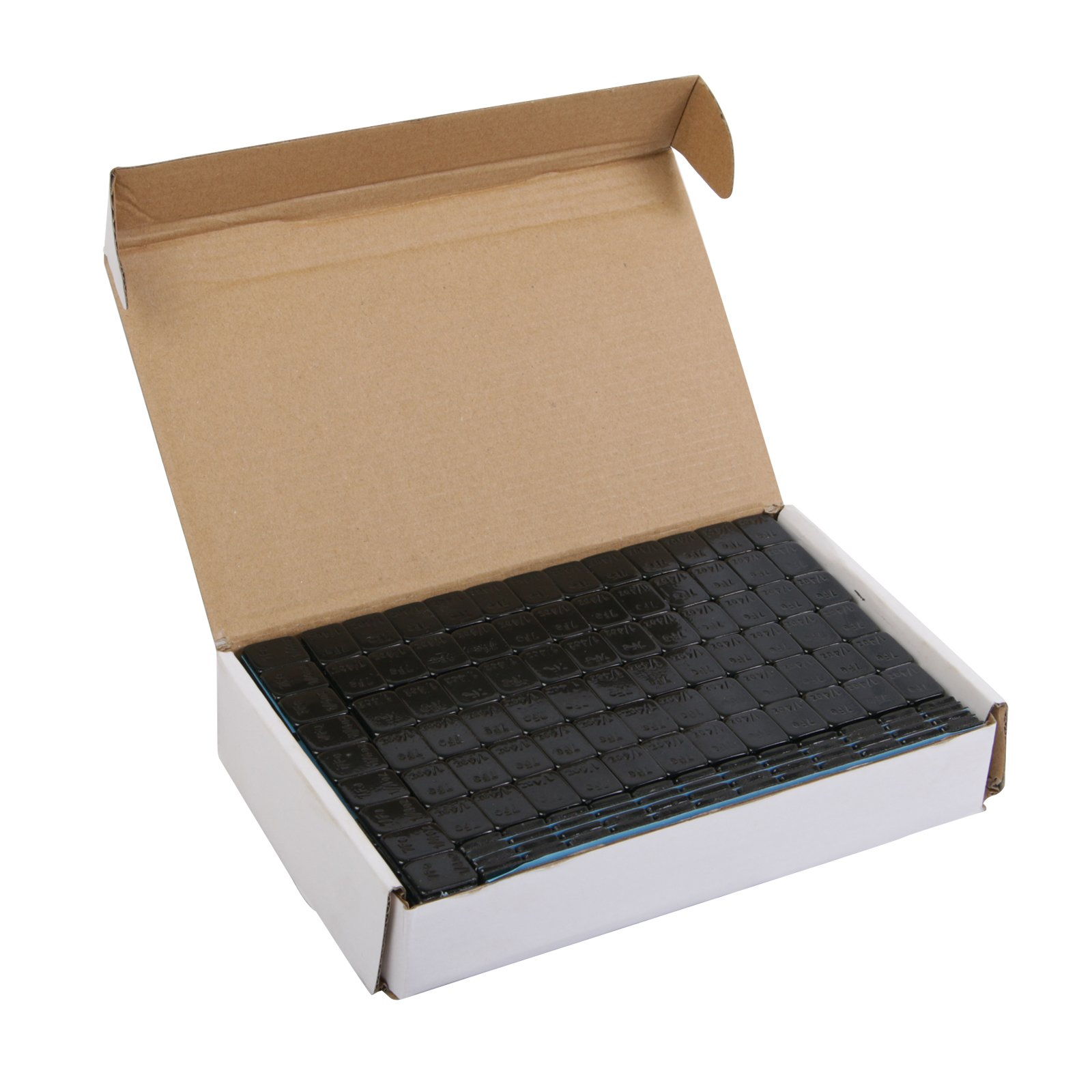 (1) Box of 1/4 ounce (0.25oz) Black, Adhesive, Stick On Wheel Weights (Low Profile) - Zinc Plated (Lead Free) - 204oz (~13 lbs) total, 68 total 3-oz strips, 816 total pieces
