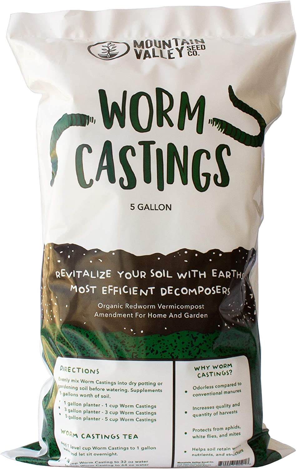Earth Worm Castings – Organic Red Worm Compost Soil Amendment - 1 Cubic Foot ~45 Lbs - Approximately 7.5 Gallons - Organic Red Worm Vermiculture and Compost Home, Garden, Greenhouse, and Farm