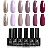 Beetles Gel Nail Polish Kit- 6 Colors Mauve Lilac and Maroon Gel Polish Set Glitter Nail Polish Soak Off LED Gel Nail…