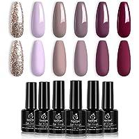 Beetles Gel Nail Polish Kit- 6 Colors Mauve Lilac and Maroon Gel Polish Set Glitter Nail Polish Soak Off LED Gel Nail…
