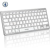Bluetooth Tastatur, Bluetooth 3.0 tragbare PC Tastatur, QWERTZ Deutsches Layout, Multimediatasten, ON/Off-Schalter für Smartphone, Android, Windows, Laptop, Tablet, 2019 Version