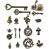 N'joy 18-Piece Alice in Wonderland Fairy Tales Tea Party Steampunk Victorian Necklace Bracelet Charms,Antique Bronze