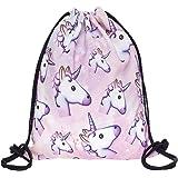 Hellathund Fashion colorato cute happy 3d stampato coulisse zaino (38,1 x 27,9 cm), unicorn
