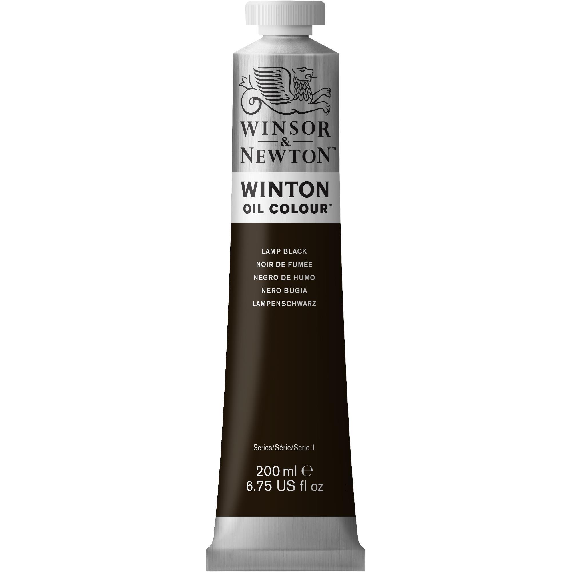 Winsor & Newton Winton Oil Colour Paint, 200ml tube, Lamp Black
