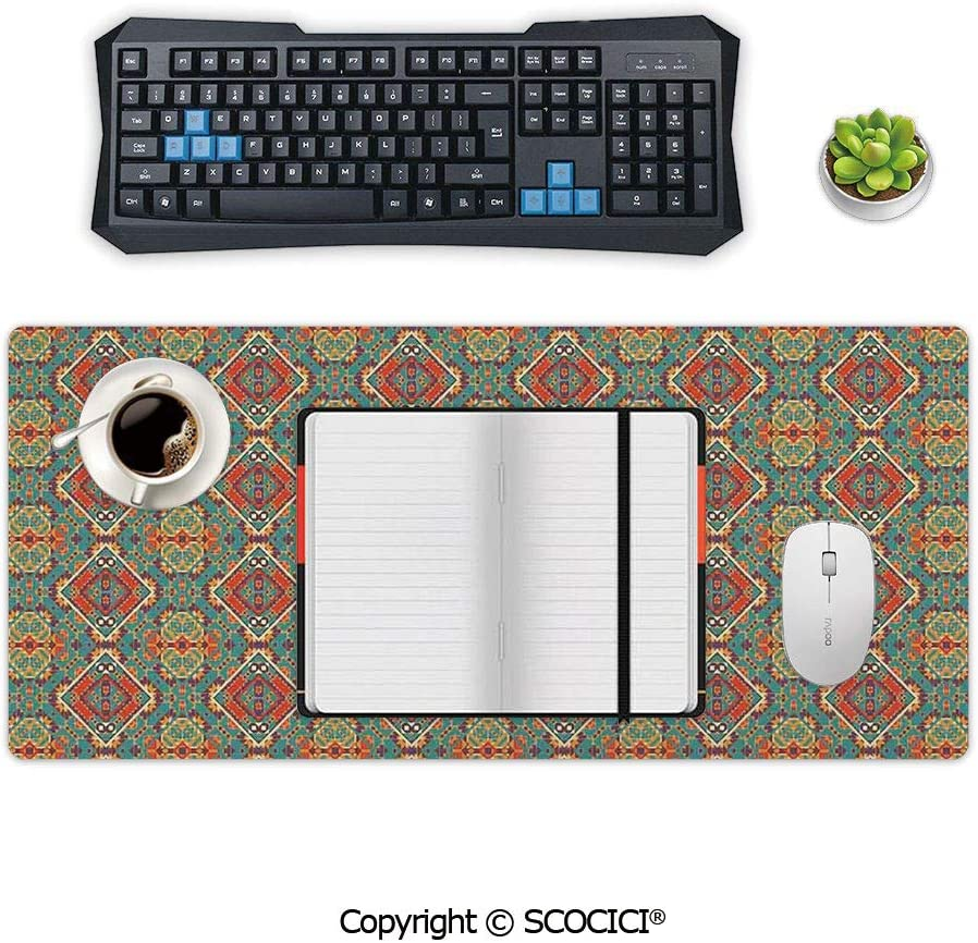 AmaUncle Desk Pad Office Desktop Protector Ethnic Indigenous Art Drawing Tribal Folk Artistic Tile Rubber Desk Mat Blotters Organizer with Comfortable Writing Surface 23.6 x 11.8