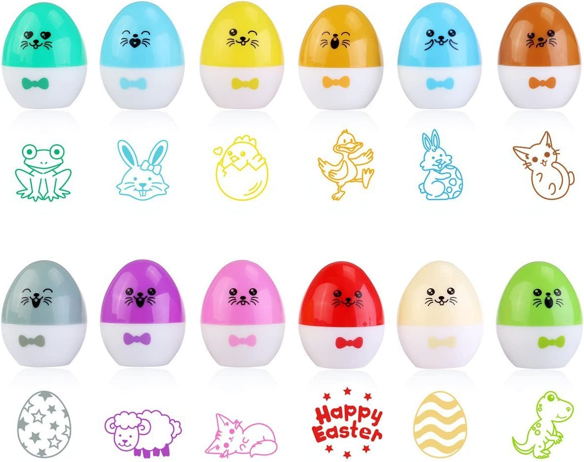 Easter Egg Stamper For Easter Party with Easter Egg Design 1.5 Inches Diameter Set of 12