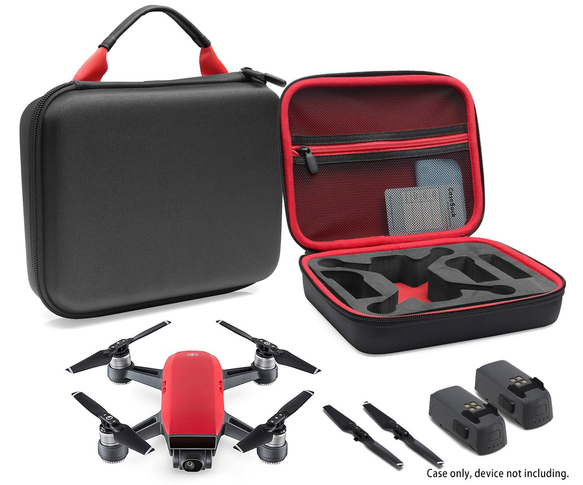 Compact Travel Case for DJI Spark Mini Quadcopter Drone, Slots for extra batteries and propellers, mesh pocket for USB cable and accessories (Black with contrast Red handle and lining)