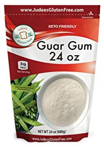 Judee's Guar Gum Powder (24 Oz /1.5 lb) 3g Fiber per Serving, Low Carb Thickener, Food Safe Thickening Agent, Keto Friendly, Gluten Free Baking, Dedicated Gluten & Nut Free Facility, USA Packaged & Filled
