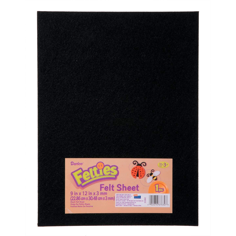 Bulk Buy: Darice DIY Crafts Felties Felt Sheet Black 9 x 12 inches (5-Pack) FLT-0032