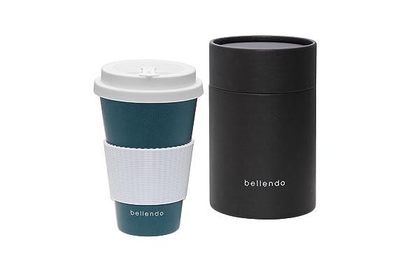 bellendo Taza de café to go bambú 400 ML | Coffee to go Taza Bamboo para café y té | bambú Taza con Tapa, asa & Caño -: Amazon.es: Hogar