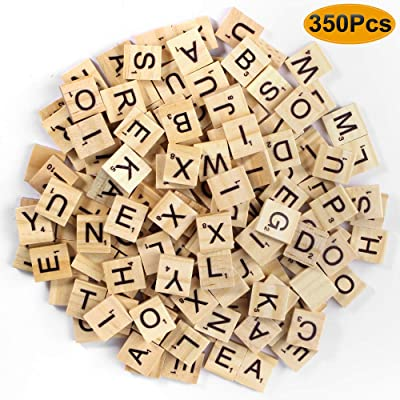 ONESING 350 Pcs Scrabble Letters Scrabble Tiles for Crafts Wood Tile Wooden Alphabet Tiles for Crafts Wood Letter Tiles for Pendants Spelling Alphabet Game Making Coasters and Scrabble Crossword: Toys & Games