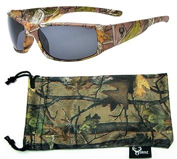 Hornz Brown camuflaje del bosque polarizados gafas de sol Hombres Full Frame Sport par brazo