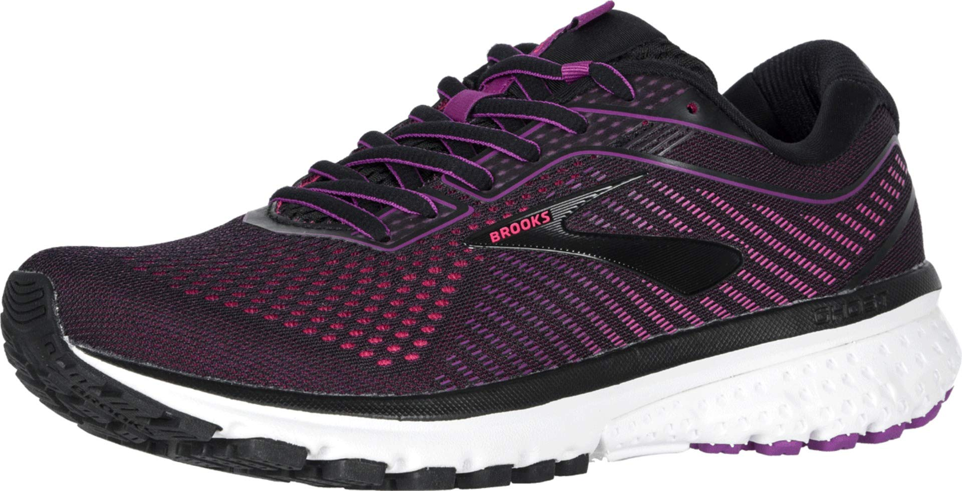 Brooks Women's Ghost 12 Black/Hollyhock/Pink 5 Wide US by Brooks
