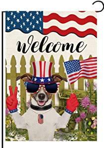 Home Decorative America Patriotic Cute Dog Garden Flag Double Sided 12 x 18 Inch, Summer Fall Autumn USA Flowers Seasonal Outdoor Flag Outdoor House Yard Decorations
