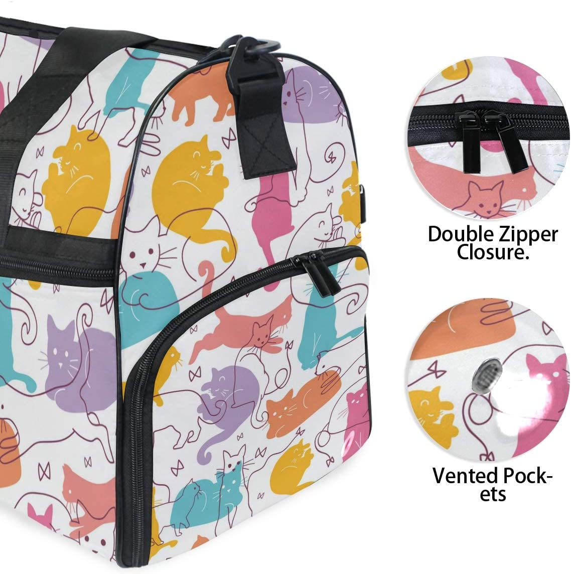 Travel Duffels Colorful Cats Duffle Bag Luggage Sports Gym for Women /& Men