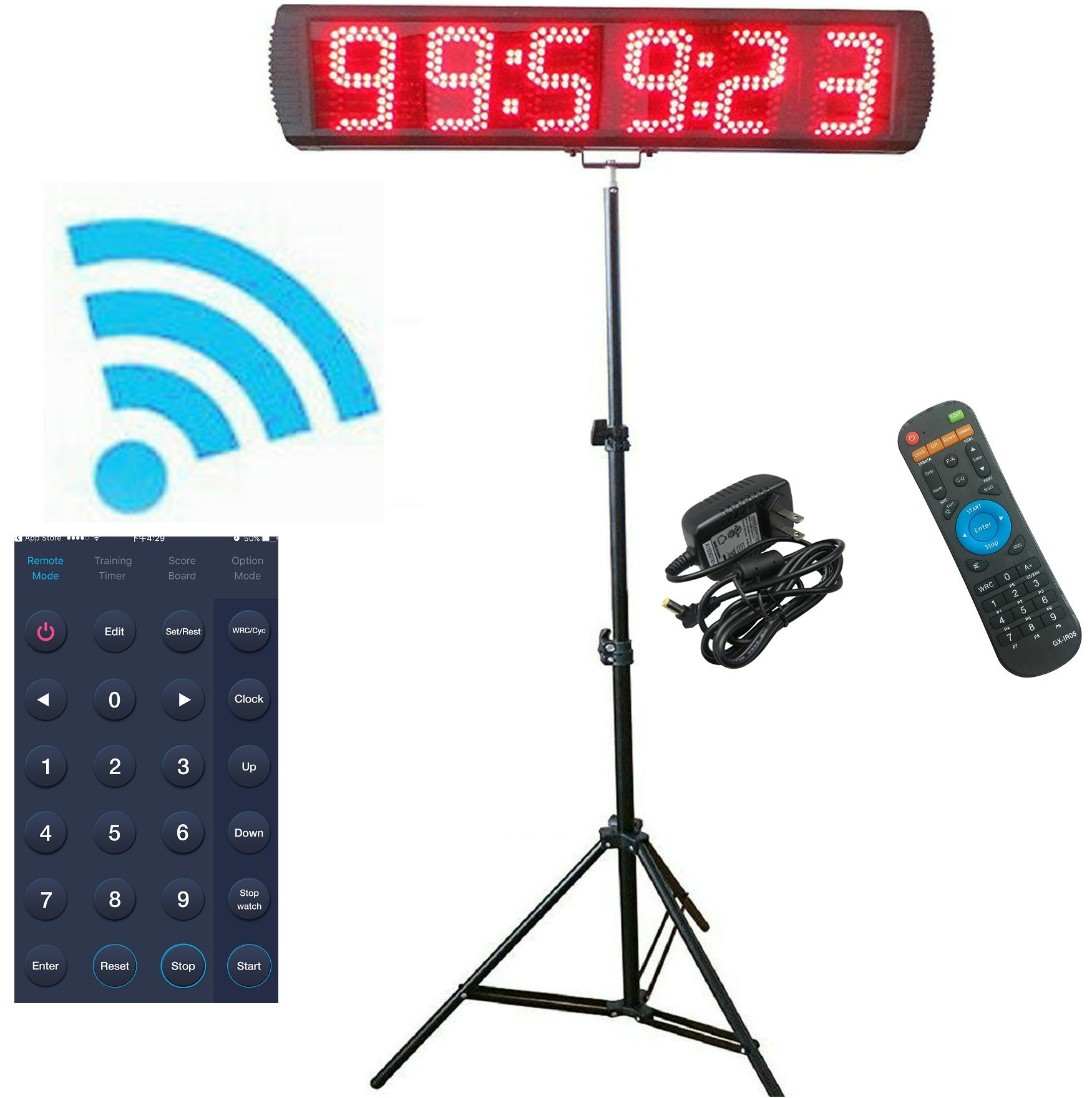 GANXIN App-Control 5'' High 6 Digits LED Race Clock Timer with Tripod for Running Events, Countdown/up Digital Timer, 12/24-Hour Real Time Clock, Stopwatch by Remote Control