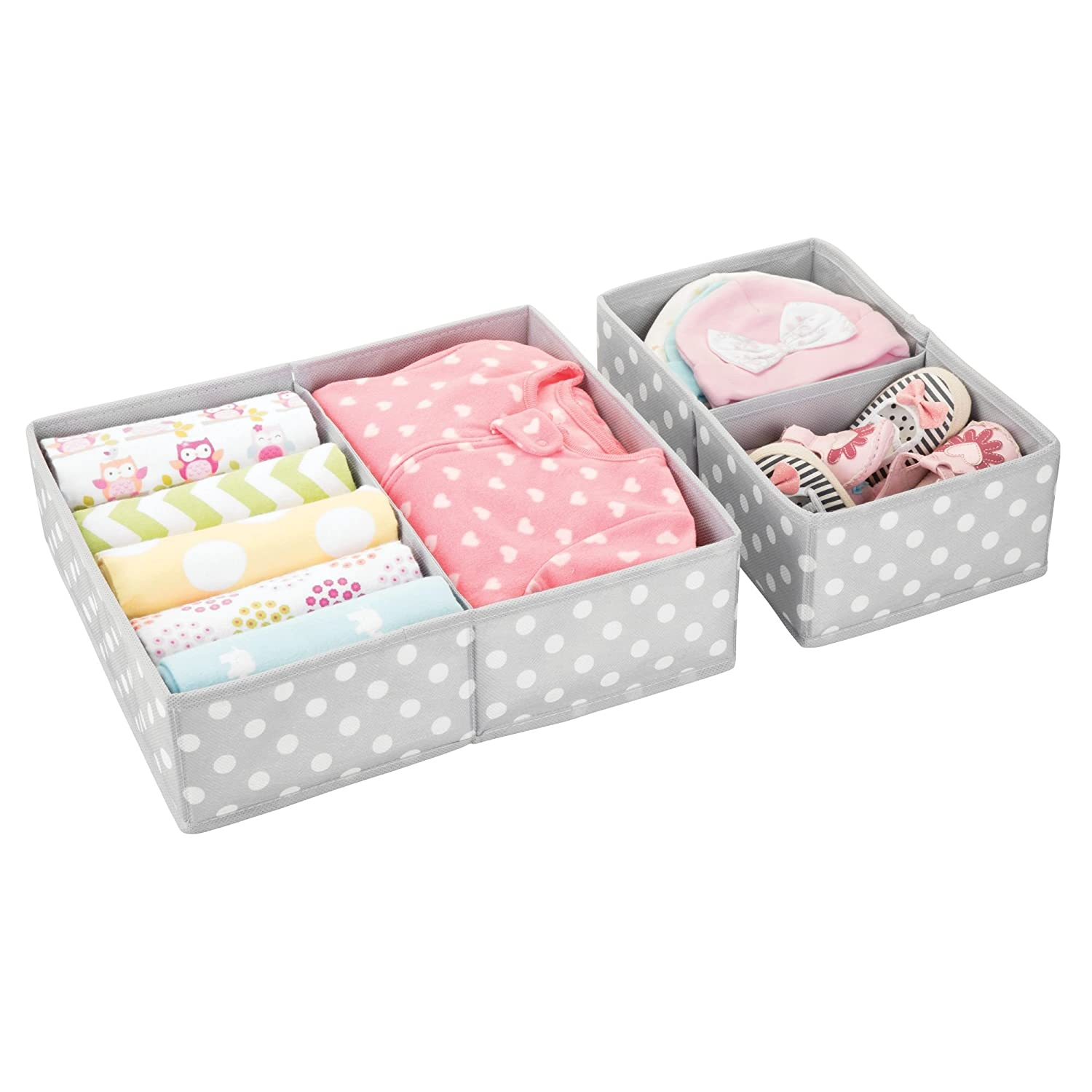 Set of 2 2 Sizes mDesign Soft Fabric Dresser Drawer and Closet Storage Organizer for Child//Kids Room Fun Polka Dot Print Nursery Divided 2 Compartment Organizer Gray with White Dots MetroDecor 00600MDCOEU