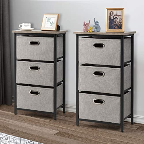 Giantex Vertical Dresser Storage W/ 3 Fabric Drawers,Easy Pull Fabric Bins,Steel Frame and Wood Top,3-Tier Organizer Tower Unit