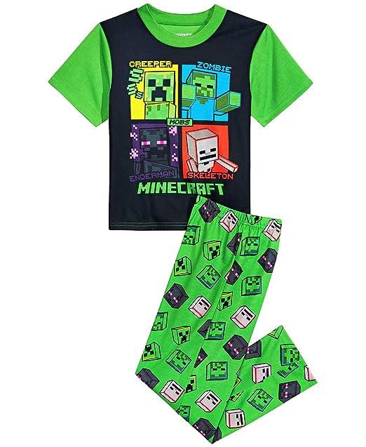 Amazon.com: Minecraft Creeper - Juego de pijamas para niños ...