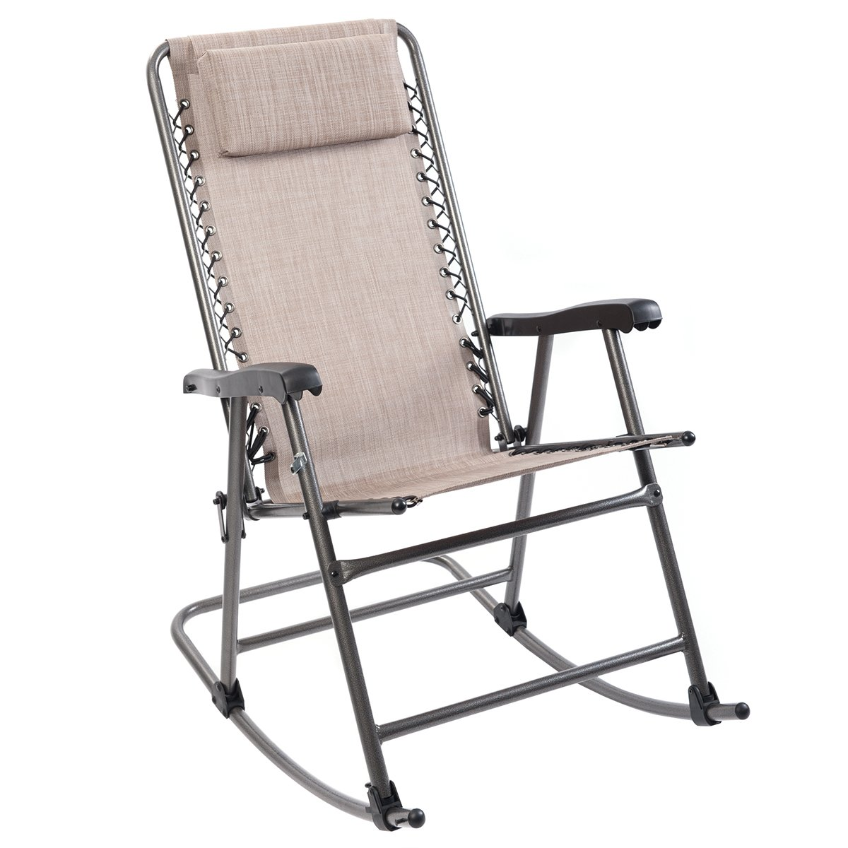 Timber Ridge Smooth Glide Lightweight Padded Folding Rocking Chair for Outdoor and Support up to 300lbs, Beige by Timber Ridge