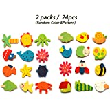 24 pcs/set Cute Wooden Fridge Magnets Early Learning Cartoon Animal Magnet Sticker Refrigerator Magnet Random Delivery,Nice Christmas Gifts For Baby Kids