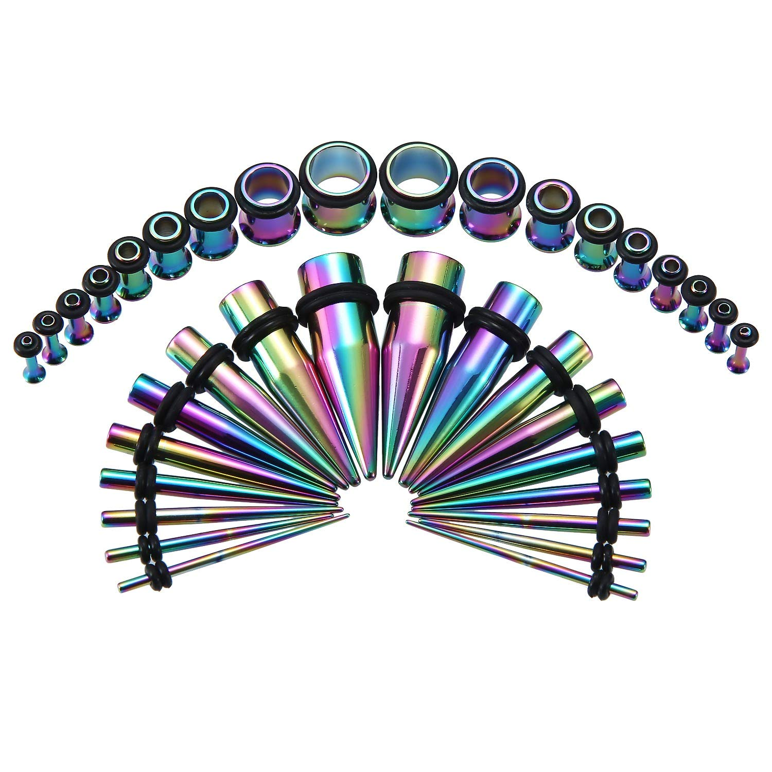 36PCS Ear Gauge Stretching Kit Stainless Steel Tapers and Plugs Set Eyelet 14G-00G Body Piercing Jewelry