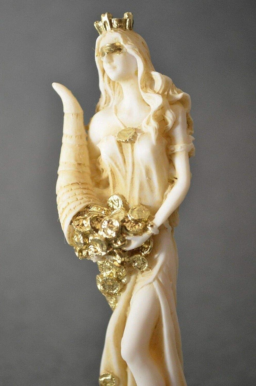 BeautifulGreekStatues G/öttin des Reichtums Tyche Lady Luck Fortuna Statue Alabaster Skulptur Gold 30 cm