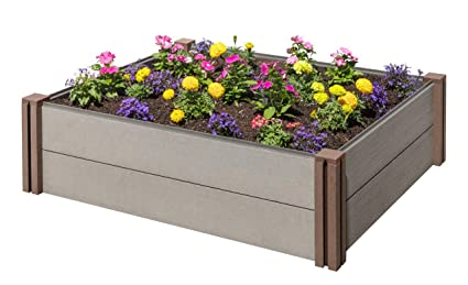Stratco Wood Plastic Composite Modular Raised Garden Bed - 48 (L) X on raised fireplace designs, raised porch designs, raised flower bed designs, raised ponds designs, raised planter designs, raised fire pit designs, raised ceiling designs, raised deck designs, raised beach house designs, raised chicken coop designs, raised vegetable bed designs,