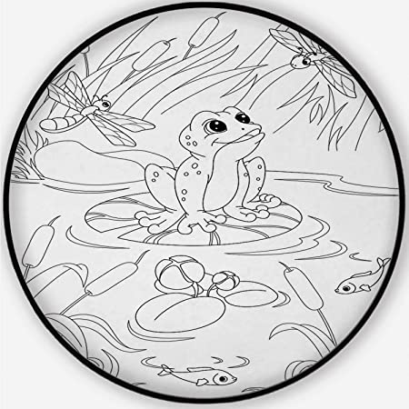 Amazon.com : ALUONI Pond Coloring Page Soft Round Bathroom ...