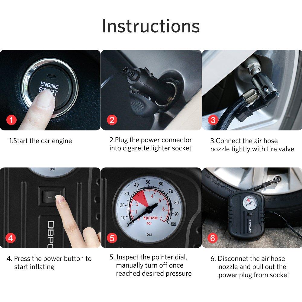 dbpower Portable Mini inflador Tire 12 V con max presión 100 ...