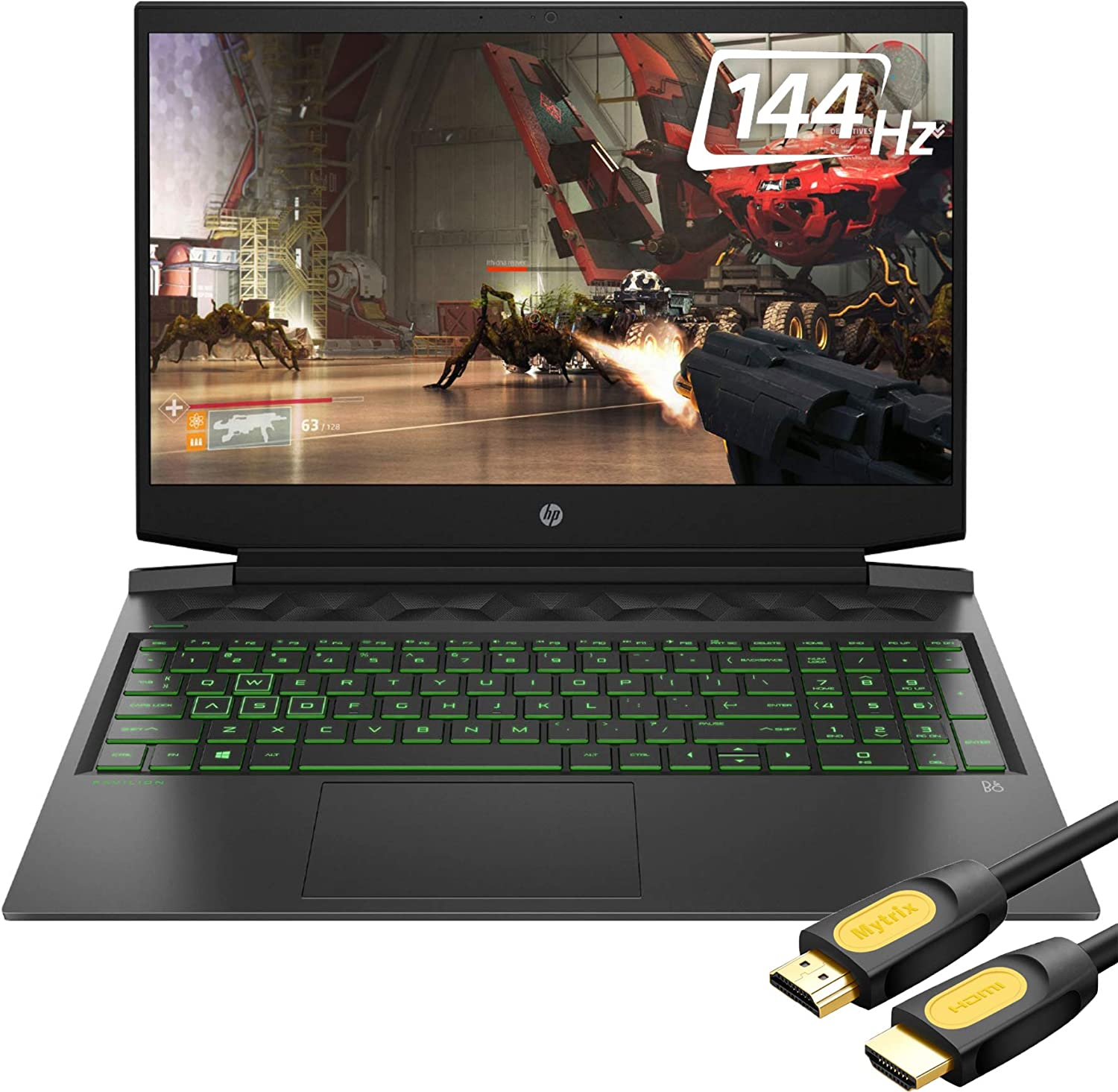 "HP Pavilion VR Ready 144 Hz Gaming Laptop, 16.1"" FHD IPS, Core i5-10300H 4-Core up to 4.50 GHz, GTX 1660Ti, 32GB RAM, 1TB SSD, DP 1.4/HDMI 2.0, RJ-45, Backlit KB, Mytrix HDMI Cable, Win 10"