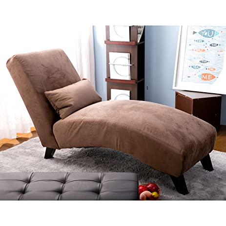 merax fabric chaise lounge chair leisure sofa living room sleeper bed brown