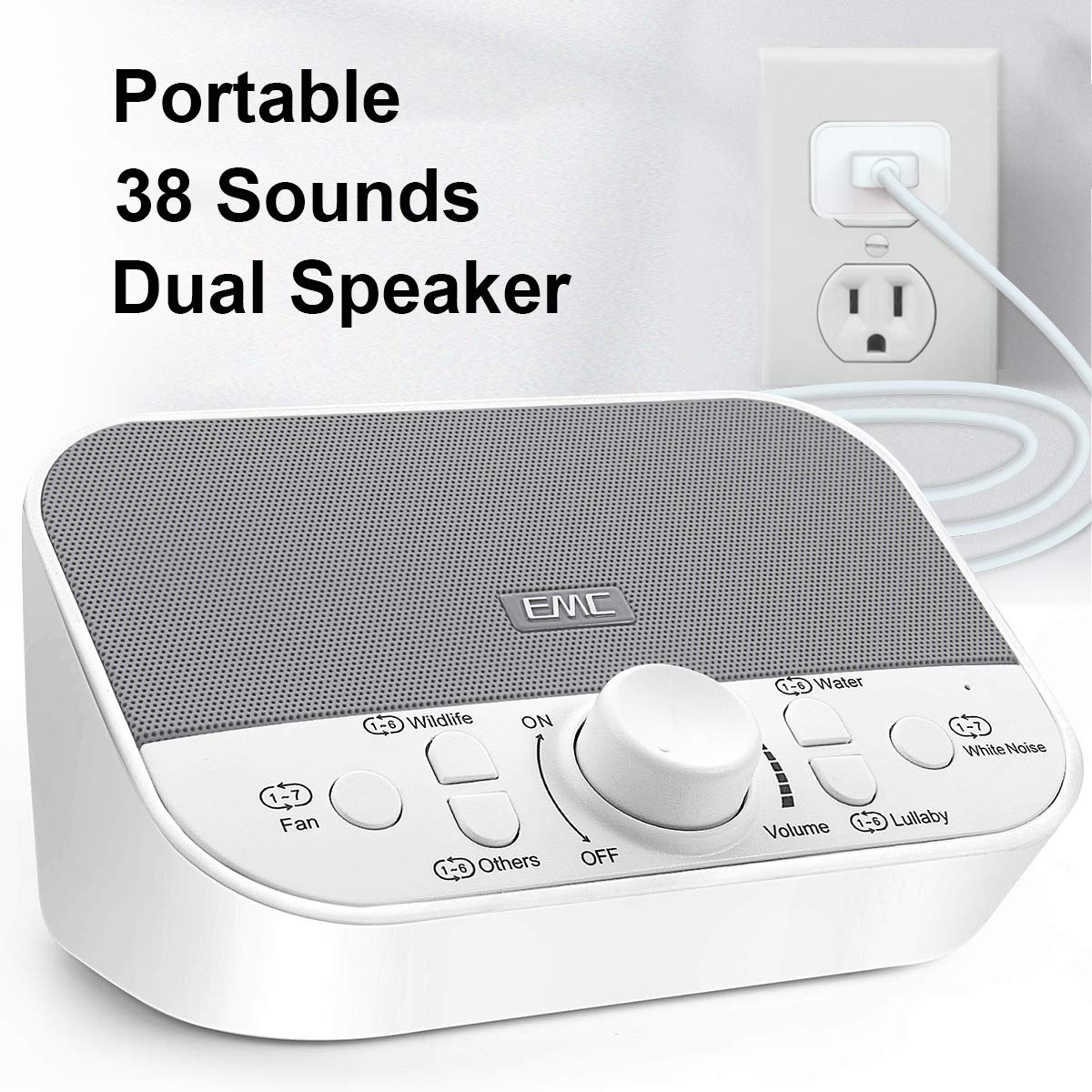 White Noise Machine - Sound Machine for Sleeping & Relaxation w/Timer - 38 Soothing Natural Sounds Noise Maker - Portable Sleep Sound Therapy for Home, Office or Travel - Built in USB Output Charger by Every Moment Counts