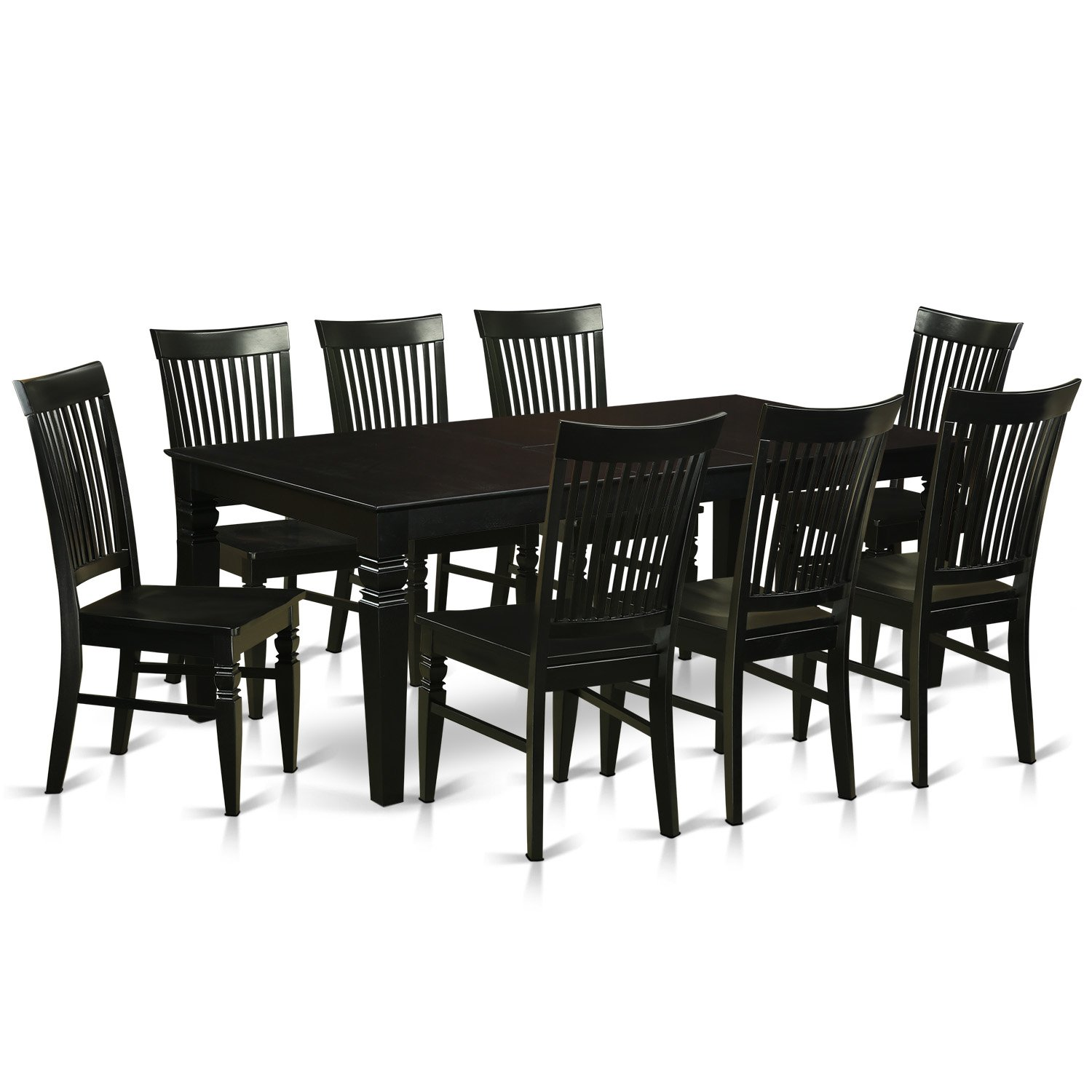 East West Furniture LGWE9-BLK-W 9 Piece Dining Table and 8 Wood Kitchen Chairs, Black