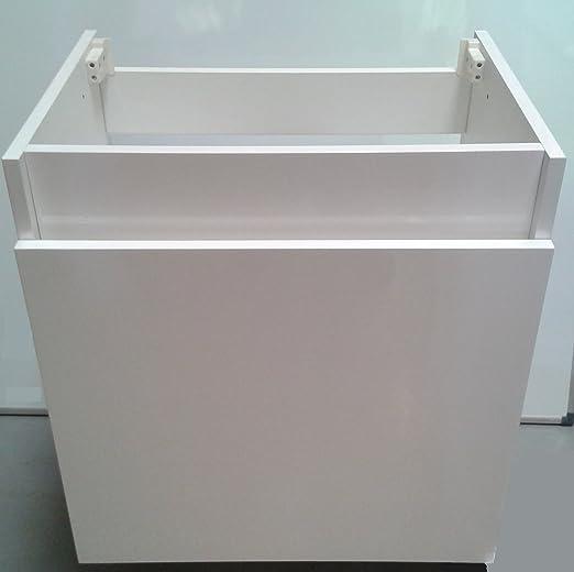 forestfox chapado en madera de lavabo con mueble de baño. Blanco Gloss, cierre suave con cajón. Sin para lavabo.: Amazon.es: Hogar