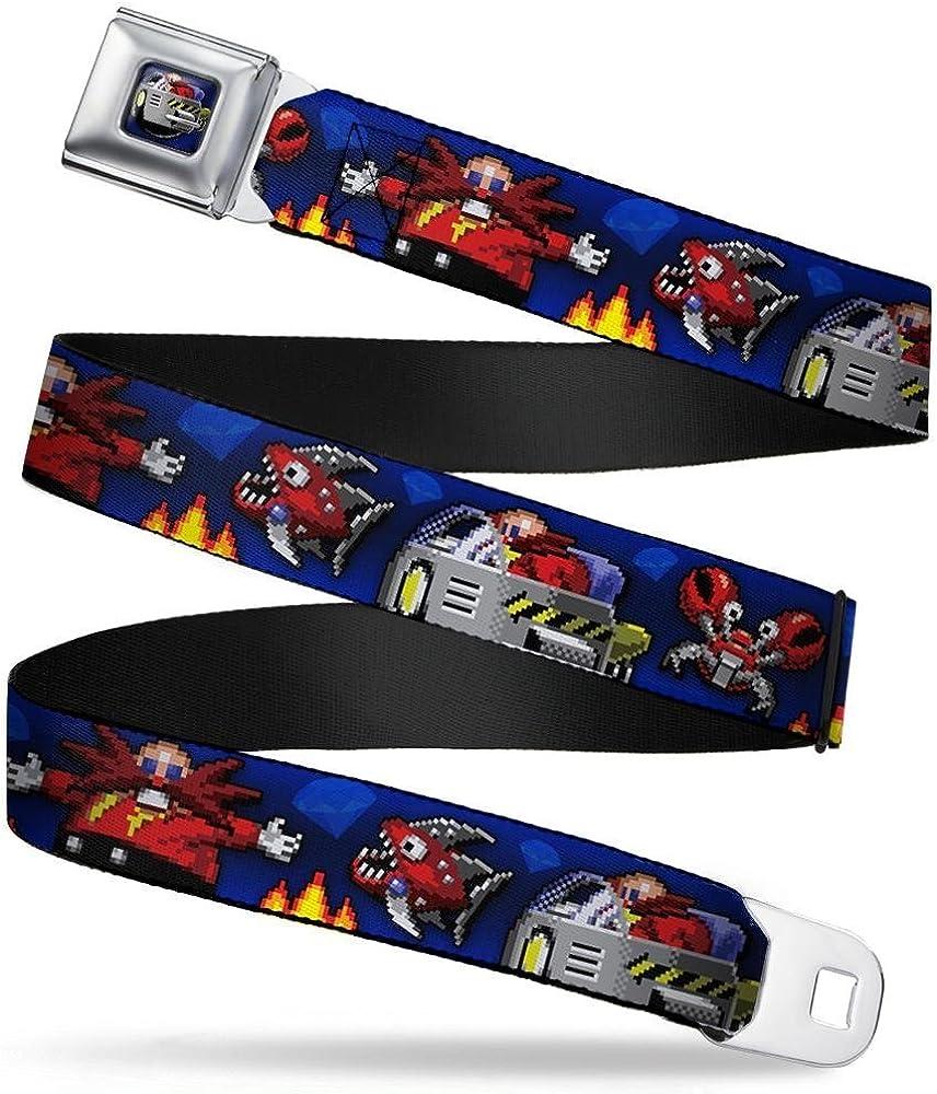 Doctor Eggman//Chopper//Crabmeat Pixelated Blues Buckle-Down Seatbelt Belt 1.0 Wide 20-36 Inches in Length